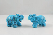 2PC 2 inch BLUE Turquoise Stone Craving Lucky elephant Feng Shui statue