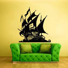 Wall Decal Vinyl Sticker Pirate Ship Boat Gungster Skull Bones Sea Ocean Z1701