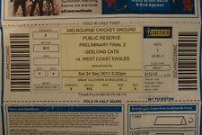 Geelong Cats - 2011 - MCG Ticket - Preliminary Final - Geelong v West Coast
