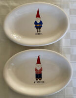 Rae Dunn Gnome Merry And Mischief Dish Holiday Elf Oval Plate Christmas Magenta