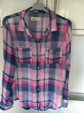 HOLLISTER SIZE XS PINK/WHITE/BLUE BIG CHECK LONG SLEEVED POLYESTER SHIRT