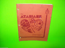 THE ATARIANS By ATARI 1977 ORIGINAL PINBALL MACHINE MANUAL w SCHEMATICS RARE