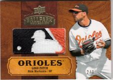 2008 Upper Deck Ballpark Collection NICK MARKAKIS Game Used Logo Tag Patch 2/3