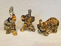 Lot of 3 La Vie Elephant African Animal Safari Patchwork Print LION ZEBRA EUC