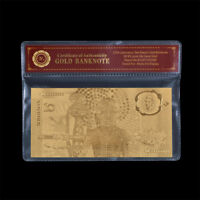WR 24K Gold Australia $10 Ten Dollar Note 1988 Bicentenary Polymer Banknote +COA