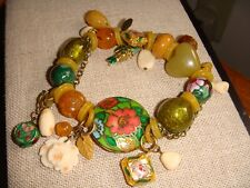 Vintage Marked Ac Cloisonne Enamel Glass Bead Multi Charm Stretch Bracelet Fish