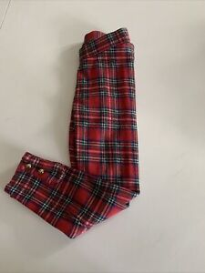 Janie and Jack Red Plaid Leggings Size 5