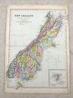1891 Antik Map Of New Zealand South Island 19th Century Viktorianisch Original