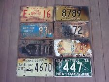 Lot of 8 Mixed State Antique Auto License Plates