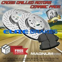 Front 2 Cross Drill Rotors and 4 Ceramic Pads for 2009-2013 Honda Fit rear drum
