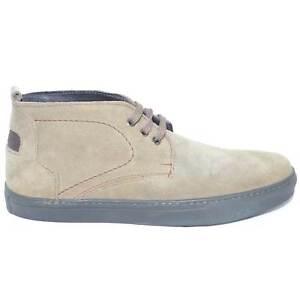 Polacchino scarpe uomo beige in vera pelle scamosciato fondo light roccia antisc