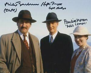 Philip Jackson, Hugh Fraser, Pauline Moran in person signed photo - Poirot  K496
