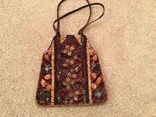 "StunningVintage Retro browm velvet/beadwork Eve bag/CLASP 10""X10"" ,lined,padded"