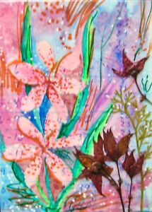"""ACEO-""""Floral 113"""" Original/Signed Mixed Media/Collage/Contemporary Art/Florals"""