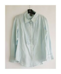 Calvin klein XL Blue Silk Cotton Pintuck Button Shirt