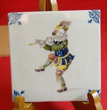 New listing Makkum Decorative Tile Made in Holland Musician Polychrome Signed Vintage Flute