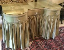 More details for double bow-fronted skirted dressing table with plate glass top c 50s/60s