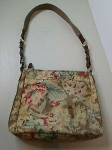 FOSSIL 54 Shoulder Canvas And Leather at Buckles Messenger Flowers Beige