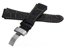 Aqua Master Mens 20mm x 20mm Patent Leather Silver Buckle Watch Band Strap