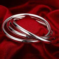 S/M Interlocked Triple Rolling Round Bangle Bracelet 18K White Gold Plated