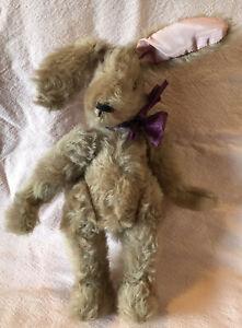 "TENDER TREASURES scruffy stuffed toy BUNNY RABBIT Brown 13"" artist signed 1989"