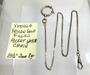 """Vintage Yellow Gold Filled Pocket Watch Chain 15 1/2"""" 2mm 8gr"""