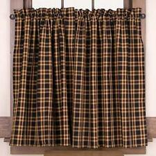 Country Cambridge Tier Curtains 72WX36L Barn Red Black Golden Tan Plaid Cotton