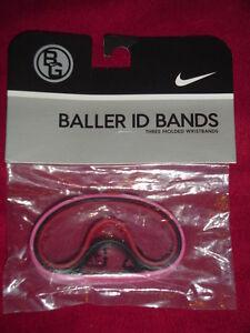 Nike Vintage 2005 BALLER id Bands Wristbands Bracelets PINK Black Red 3 Pack New
