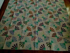 "NEW Handmade Elegant Fan  Quilt  87"" x 87"""
