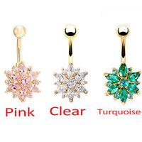 Belly Button Rings Flower Crystal Rhinestone Jewelry Navel Bar Body Piercing