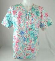 Cherokee Short Sleeve Multi- Colored Bow Scrub Top Shirt Women's Size Medium D1