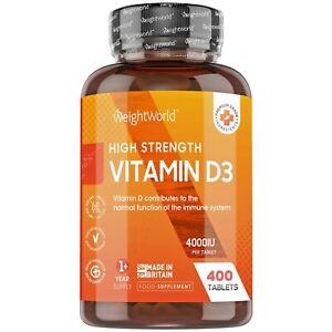 Vitamin D3 400 Tablets for Immune Support, Bones, Skin & High Strength 4000iu