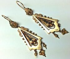 LARGE 1870 VICTORIAN GOLD FILLED BLACK ENAMEL MOURNING CHANDELIER earrings