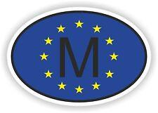 OVAL EUROPEAN UNION FLAG con M Codice paese adesivo malta Motocycle auto