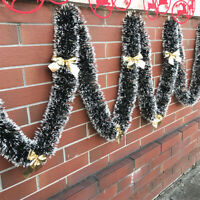 UK Christmas Ribbon Wreath Garland Xmas Home Party Wall Hanging Ornaments