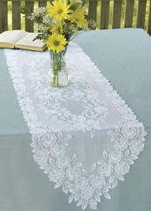 """Heritage Lace  TEA ROSE 14""""x 36"""" White Table Runner"""