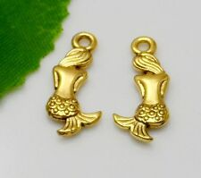 Free Ship 20Pcs plated Gold Mermaid Charms Pendant Fit Bracelet 20x9mm