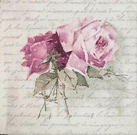 3x Single Paper Napkins Decoupage Sagen Vintage Design Painted Roses Script N088
