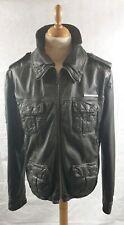 Vintage Superdry Distressed Men's Brown Leather Zip Jacket Size L Used VGC