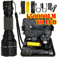 250000LM Rechargeable T6 LED Torch Tactical Military Flashlight Headlamp Camping