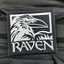 Raven American Black Crow Militray Tactical Morale Hook Patch Embroidered White