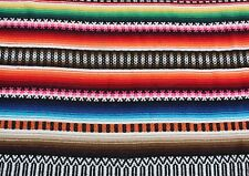 """Authentic 50s Handmade Mexican Wool rug carpet blanket Southwestern 57"""" 84"""""""