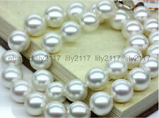 White Round Pearl Necklaces 18Inch 14K Real Huge 12-13Mm South Sea Aaa