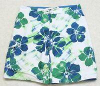"Burnside Swimming Board Shorts Large 36"" X 11 Polyester Man's Men's White Green"