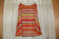 7949bdef02c6 Kay Unger New York Zigzag Acrylic Multicolor Knit Skirt Size 14