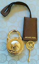 MICHAEL KORS LUGGAGE BROWN SAFFIANO LEATHER GOLD LOCK AND KEY SET HANDBAG CHARM
