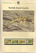 """WWF For Nature Stamp Collection 1996 """"Norfolk Island Lizards"""" FDC, PC and Stamps"""