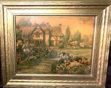 Vintage Framed Canvas Oil Painting Cottage Landscape Scene Summer Wall Decor