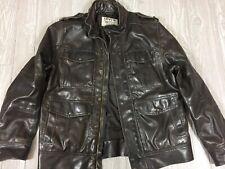 Levis Mens Faux Fake Leather Bomber Trucker Jacket Brown Sz Medium (t14)