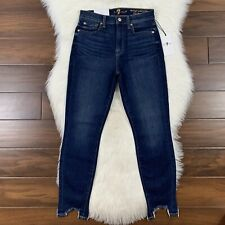 7 For All Mankind Women's Size 27 High Waist Skinny Ankle Denim Jeans Step Hem